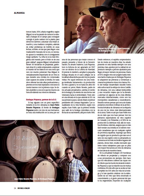 Bodegas Piqueras en la revista MiVino-Vinum 2