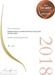 Castillo de Almansa Crianza 2016, medalla de bronce en el prestigioso Decanter 2018